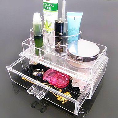 akryl transparent komplexa kombinerade dubbla lager kosmetika förvaring med låda kosmetisk arrangör – SEK Kr. 103