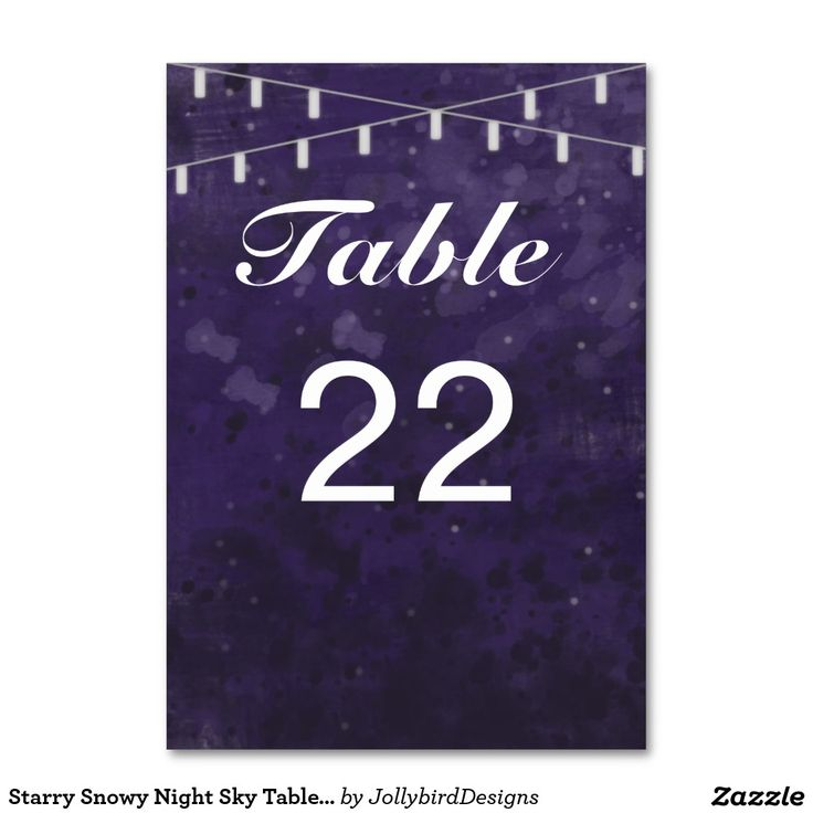 Starry Snowy Night Sky Table Number Card Table Cards #lovely #weddinginvitation #tablecard design with #dreamy #abstract #watercolor #starry #nightsky theme