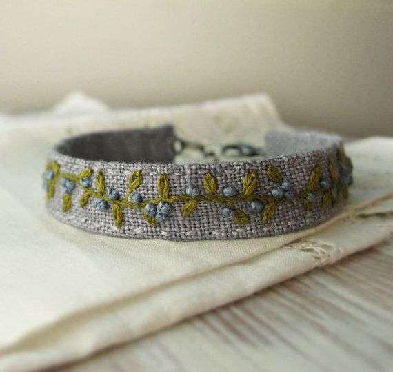 Embroidered Cuff Bracelet / Green Vine with Blue Buds on Light Grey Linen