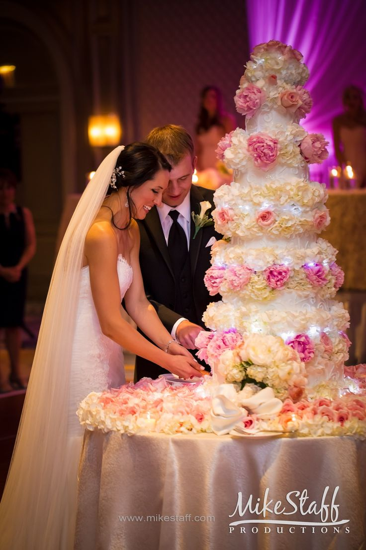 Bride and groom cutting their tall pink rose wedding cake #Michiganwedding #Chicagowedding #MikeStaffProductions #wedding #reception #weddingphotography #weddingdj #weddingvideography #wedding #photos #wedding #pictures #ideas #planning #DJ #photography
