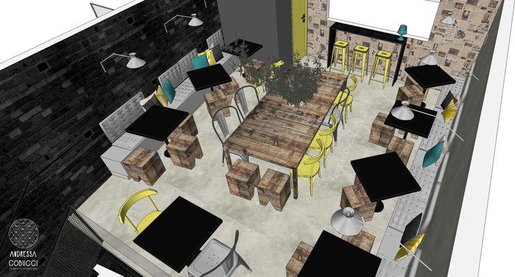 Bar Estilo Industrial | O assentos variam entre cadeiras, bancos e banquetas altas, numa composição divertida de diferentes cores e materiais. . No mezanino há ainda uma grande mesa para ser compartilhada, o que induz os usuários a se conhecererem, se comunicarem e a interagir.