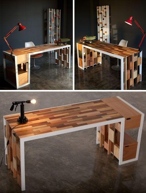 Patchwork Wood 3 Piece Recycled Office Furniture Series Designed By Kann