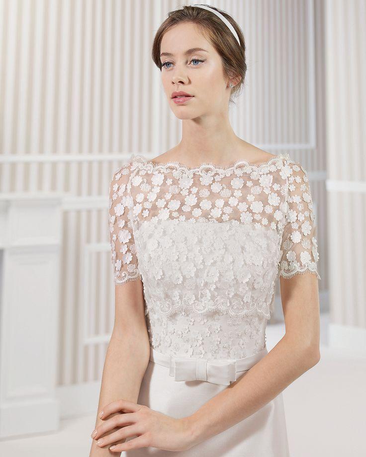 8S180 LOU | Wedding Dresses | 2015 Collection | Luna Novias | Shown with short sleeve off shoulder Lace Jacket (close up)