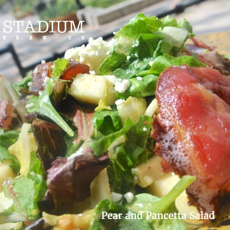 We offer a great #LunchMenu every day 11-3pm here at #SBC. Try a #HealthyFavorite like our #Pear and #Pancetta #Salad #StadiumBrewCo #AlisoViejo