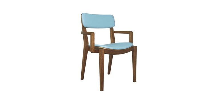 Sierra #chair, structure in solid wood, upholstered in #leather Lazio Baby #Blue.#Customizable to different #wood stains, leathers and fabrics.
