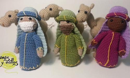 Reyes Magos y Camello Amigurumi - Patrón Gratis en Español y con Videotutoriales aquí: http://lanasyovillos.com/amigurumi/reyes_magos