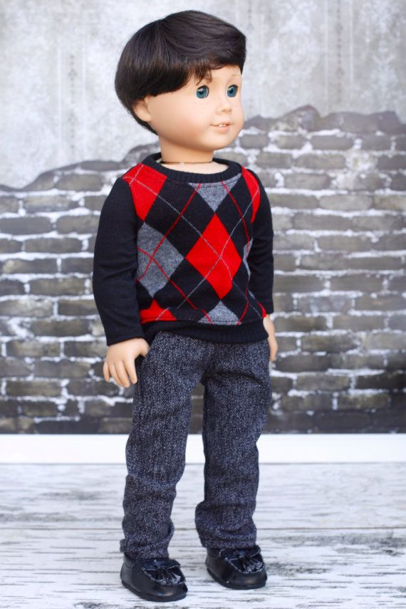 American Boy Doll Clothes  Argyle Sweater TOP for by Closet4Chloe