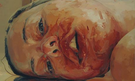 """""""Jenny Saville's first UK solo show opens – but mind the wet paint""""  Two pieces on display at the Ashmolean as part of exhibition at Modern Art Oxford.  - The Guardian Friday 22 June 2012"""