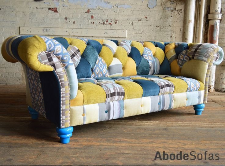 Modern British Handmade Bold Bright Hues of Blue and Yellow Patterned #Patchwork Chesterfield Wing #Chair. Totally unique in a range of colourful fabric.| Abode Sofas