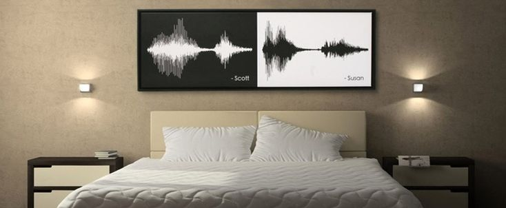 """These are the acoustic waves of a couple saying """"I do."""" I'm pretty sure the linguist in me just died from the awesomeness of this. Using acoustic signals as art that captures moments such as these = completely brilliant."""