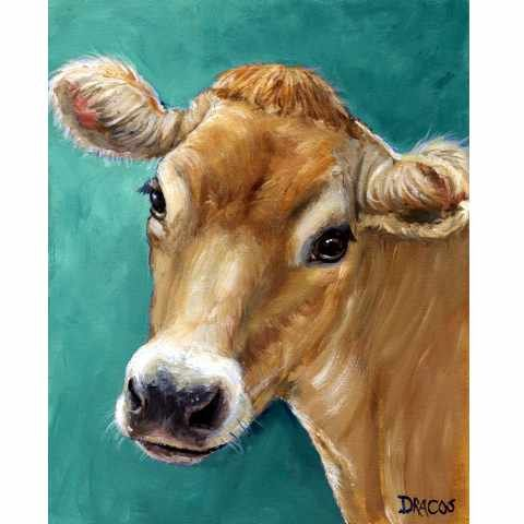 I've wanted a cow painting forever. I'm not sure why. Jersey Cow Farm Art 8x10 Print of Original Painting by Dottie Dracos, Jersey Cow on Teal. $12.00, via Etsy.