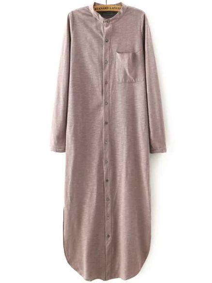 Khaki Stand Collar Pocket Long Blouse -SheIn(abaday)