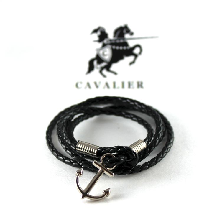 Black Leather Silver Plated Anchor Bracelet www.mycavalier.co