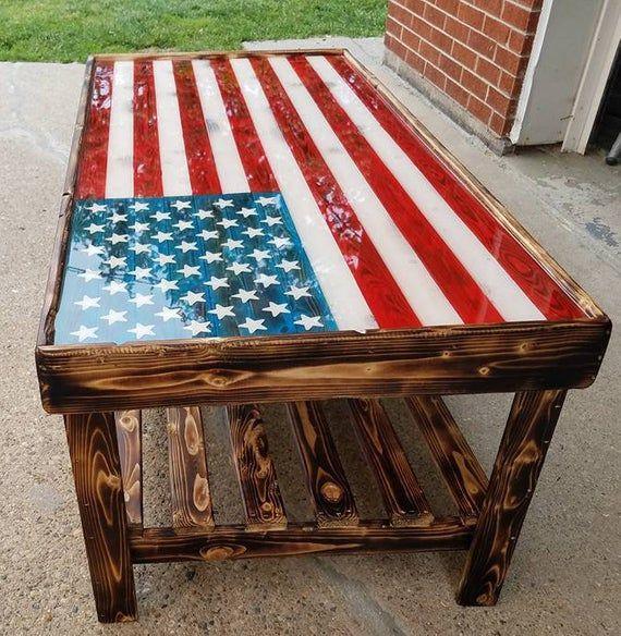 American Flag Coffee Table American Flag Wood American Flag Decor Wooden American Flag