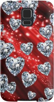 Red Sparkle Diamond Hearts   Snap Cases, Tough Cases, & Skins for iPhones 4s/4 5c/5s/5 6/6Plus & Samsung S3/S4/S5 Galaxy Phones. **All designs available for all models.