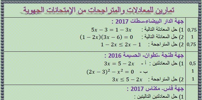 تمارين من الجهويات للمعادلات والمتراجحات للثالثة إعدادي Math Math Equations