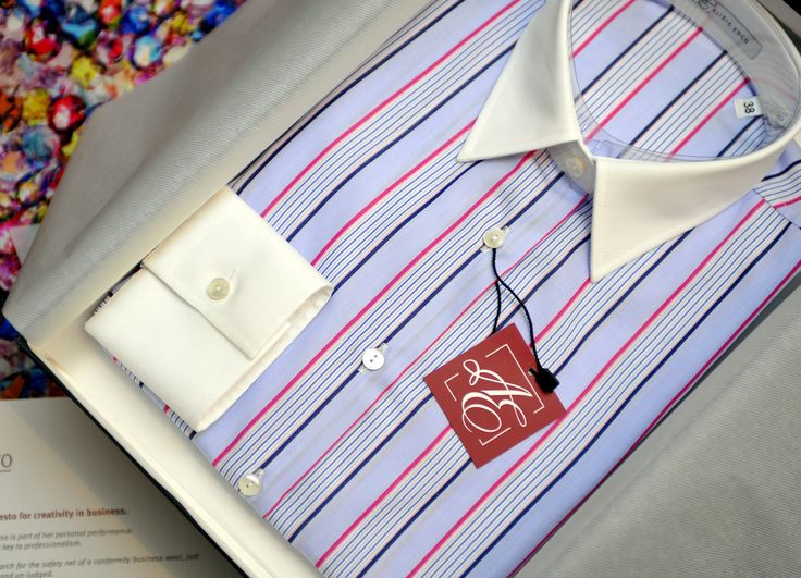 Wonderfully striped, joyfully colored!  It is our ‪#‎Creative‬ ‪#‎Business‬ shirt with white cuffs! Check it out here: http://bit.ly/AE-Creative-Business-blue ‪#‎blueshirt‬ ‪#‎cotton‬ ‪#‎businesswomen‬