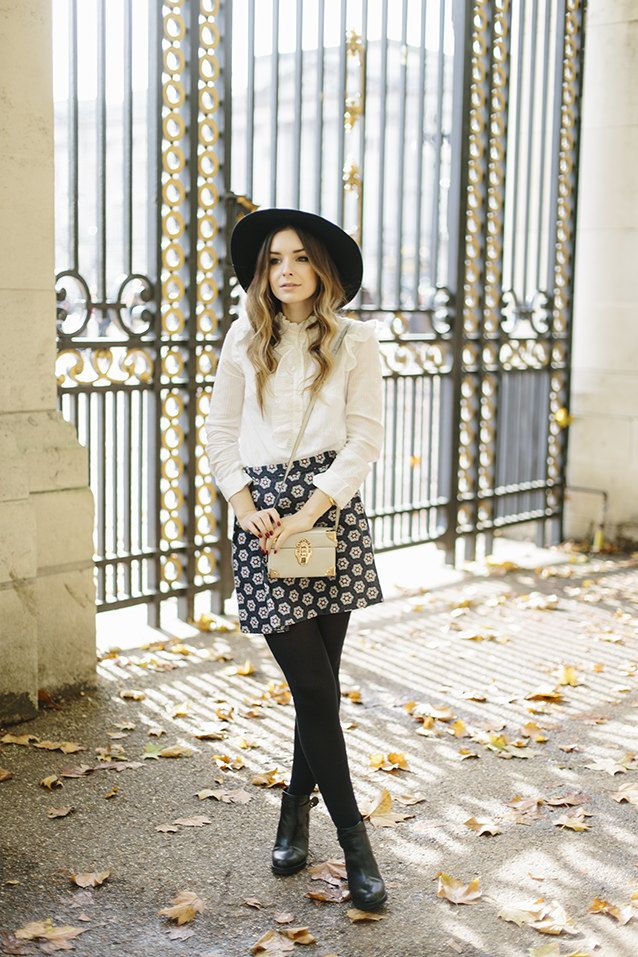 What Olivia Did... style, fashion, hat, ombre hair, pattern skirt, boots, blouse, smart casual