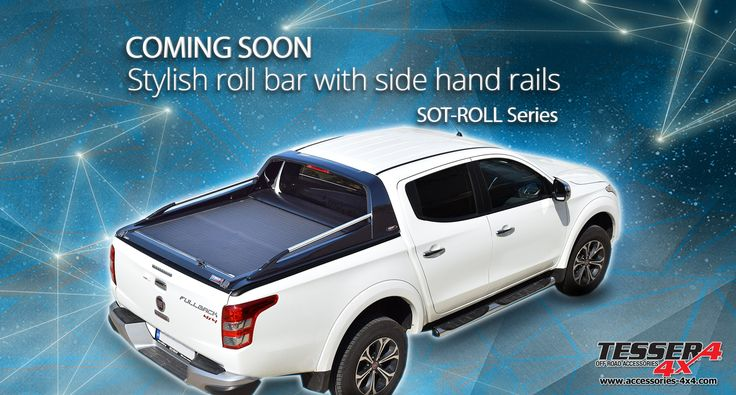 #Stylish #roll #bar with #stainless #steel #sport #design #side #handrails combined with our #unique #aluminum #roller #lid #shutter / #top #cover (#SOTROLL #series by #Tessera4x4 #accessories) for #Mitsubishi #L200 #Triton and #Fiat #Fullback 2016. Coming soon. Stay tuned. #Sport & #elegance #attitude. Only at www.accessories-4x4.com