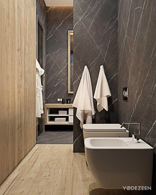 современный-ванная комната-деревянные панели