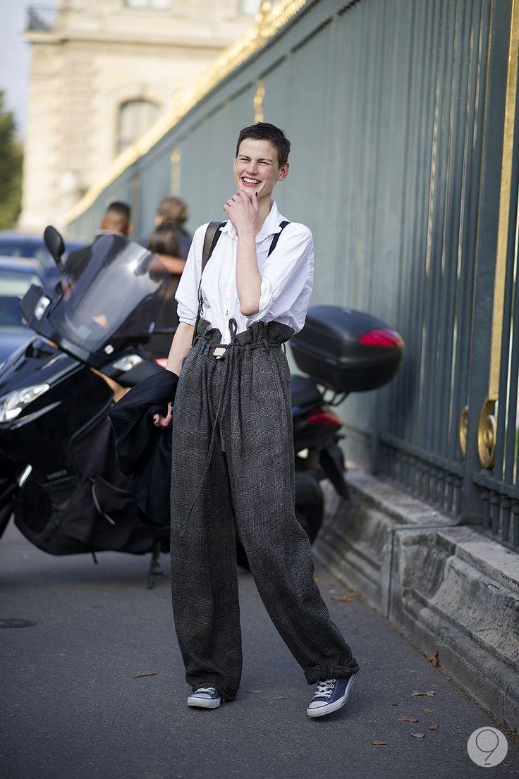 baggy pants + chucks. #SaskiaDeBrauw #offduty in Paris.