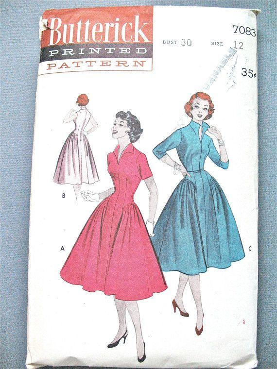 années 1950 côté Vintage couture princesse robe patron Butterick uncut 7083 rassemble corsage ajusté jupe buste 30