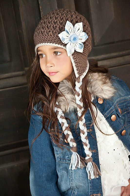 Girls Hat, Crochet Hat, Girl Crochet Taupe, Linen, and Blue Textured Hat wiith Fabric Flower Baby Toddler Child Teen Sizes, Made to Order