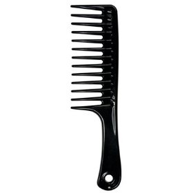 "Large Tooth Detangle Comb Shampoo Wide Teeth Comb Hair Salon Shampoo Comb Unbreakable 9 1/2"" (Black), (detangling comb, curly girl method, black, comb, ion, luster, static resistant, wide comb)"