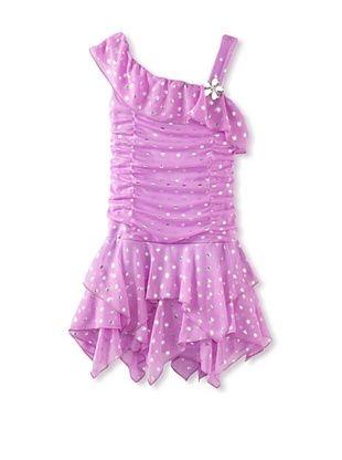 60% OFF Amy Byer Girls 2-6X Ruffle Jagged Hem Dress (Purple)