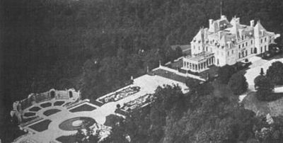 """""""Harbor Hill"""", Gilded Age mansion of Clarence Mackay. Designed by Gilded Age NYC architectural firm, McKim, Mead and White. The supervision of architectural work, for the Roslyn, NY mansion, was carried out primarily by Stanford White. Built from,  c.1899-1902."""