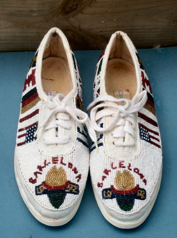 Souvenir of 1992 Barcelona Olympic Games Tennis Shoes Beaded with Ten Flags of Other Countries Competing #Souvenir #barcelona #beautiful #shoes