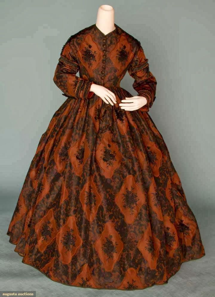 SILK BROCADE AFTERNOON DRESS, 1860s 1-piece, brown w/ black floral brocade, pleated fabric trim, thread covered butto...