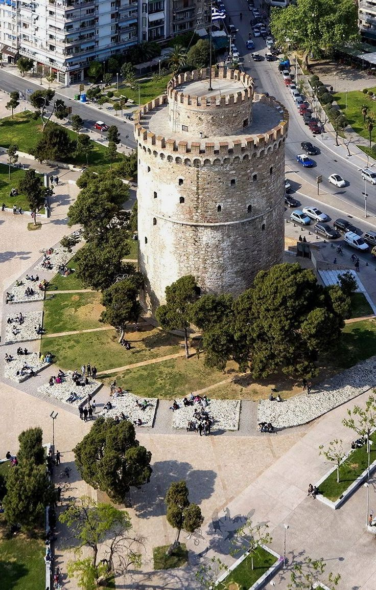 Aerial view of the White Tower - Thessaloniki, Greece