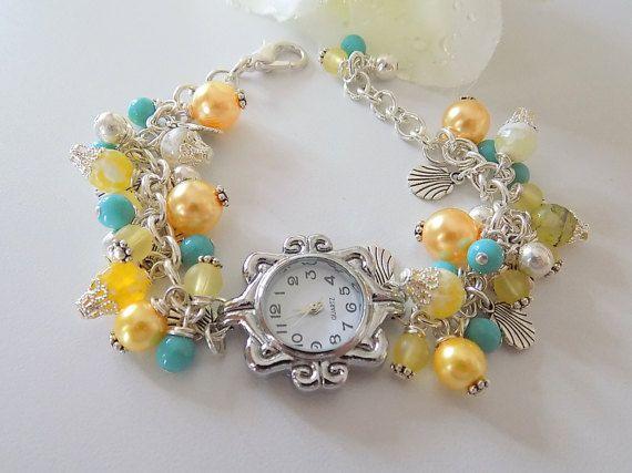 Yellow Watch Bracelet Yellow Pearl Watch Beaded Watch Charm Watch Bracelet Beach Jewelry Silver Watch Gemstone Bracelet Gift for Her