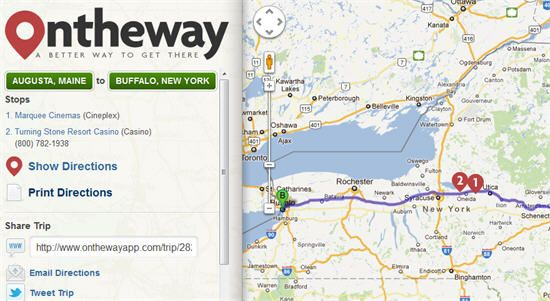 On the Way web app - find coffee, restaurants, wifi, and more on your road trip.