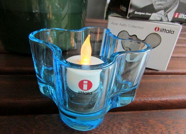 Teelichthalter - Alvar Aalto Collection TEELICHT Glas HELLBLAU - ein Designerstück von allmodern bei DaWanda * votive by Pentagon Design based on the Alvar Aalto shapes * the blue one REDUCED at present! Easter deco?