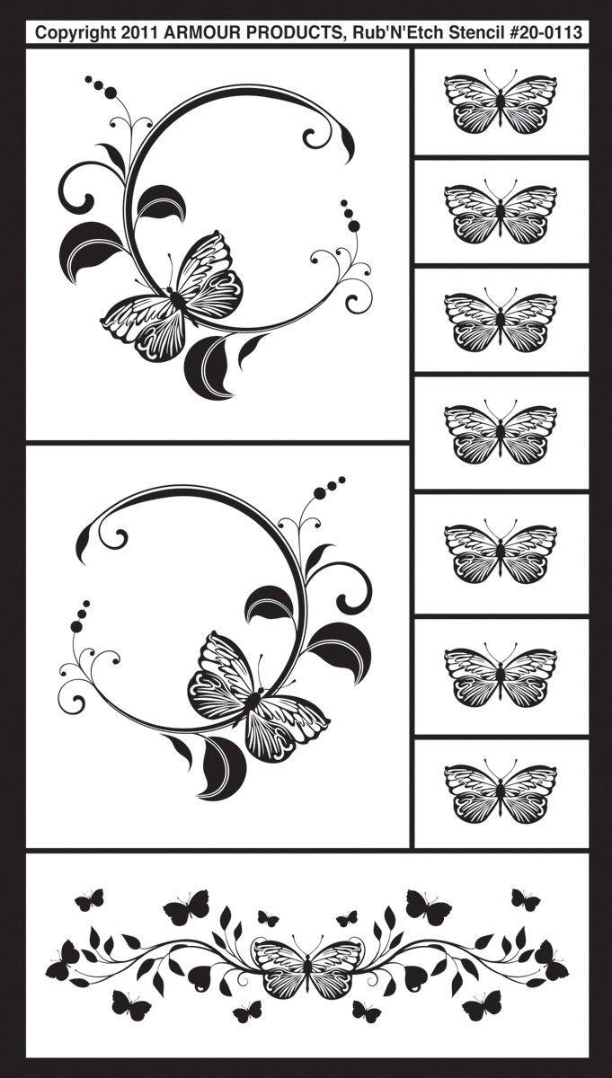 "glass etching patterns   Butterflies 2 Rub 'n' Etch Glass Etching Stencils 5""X8"" 1/Pkg 20R-0113"