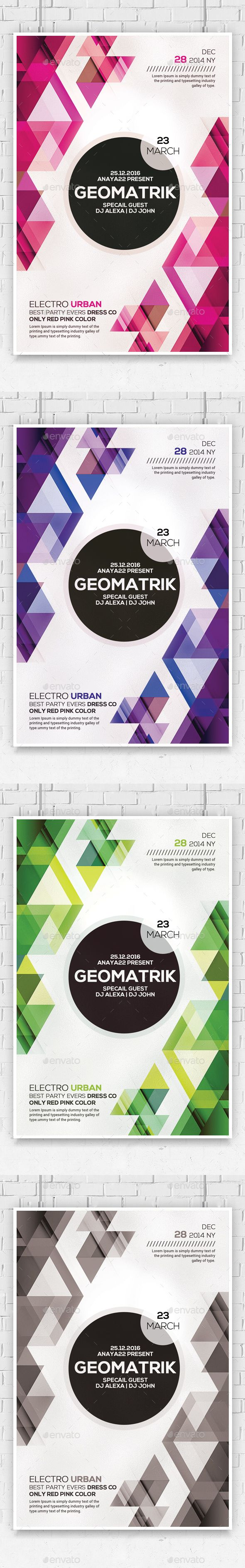 Minimal Geometric Flyer Template PSD #design Download: graphicriver.net/...
