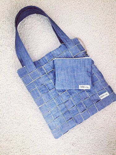 Torba dżinsowa pleciona Blue | 229,00zł