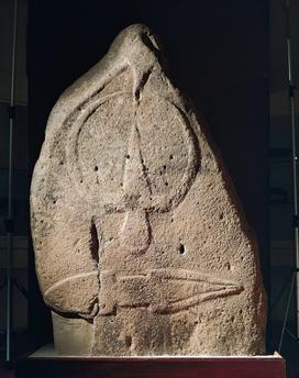 Nuragic civilization, Menhir-statue of a male figure. From Laconi, Sardinia Region, Italy.