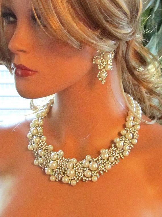 bridal statement Bridal bib necklace earrings  by BijouxandCouture, $98.00