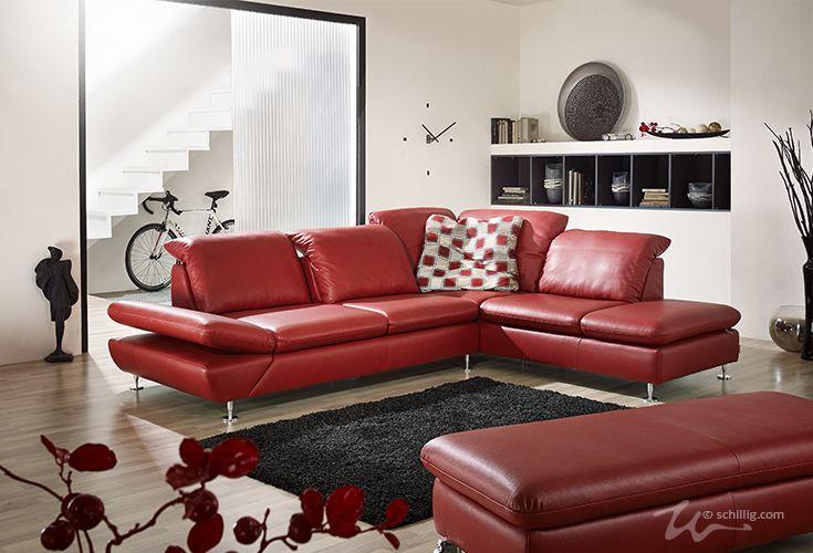 rote Leder-Garnitur von W.SCHILLIG: taoo