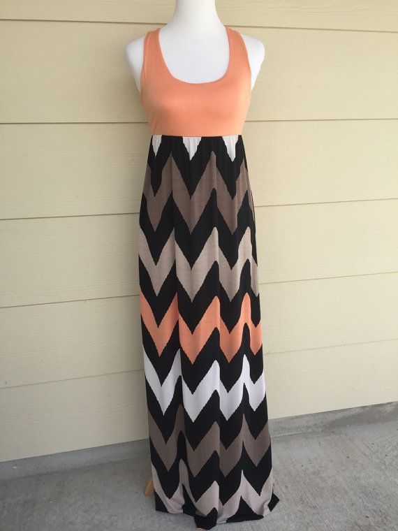 Maxi Dress chevron maxi dress maxi dresses peach chevron maxi dress womens dresses womens clothes chevron dress S, M, L by decorplace. Explore more products on http://decorplace.etsy.com