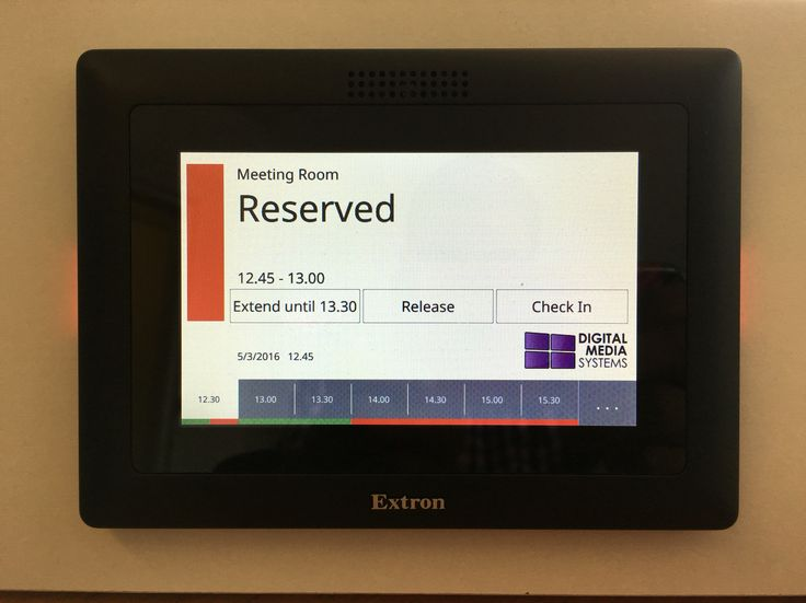 Our meeting room booking technology. Touch enabled. Connects back to MS Outlook resources. Easy!