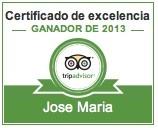 Certificado de Excelencia 2013 - Tripadvisor - Restaurante José María - Segovia