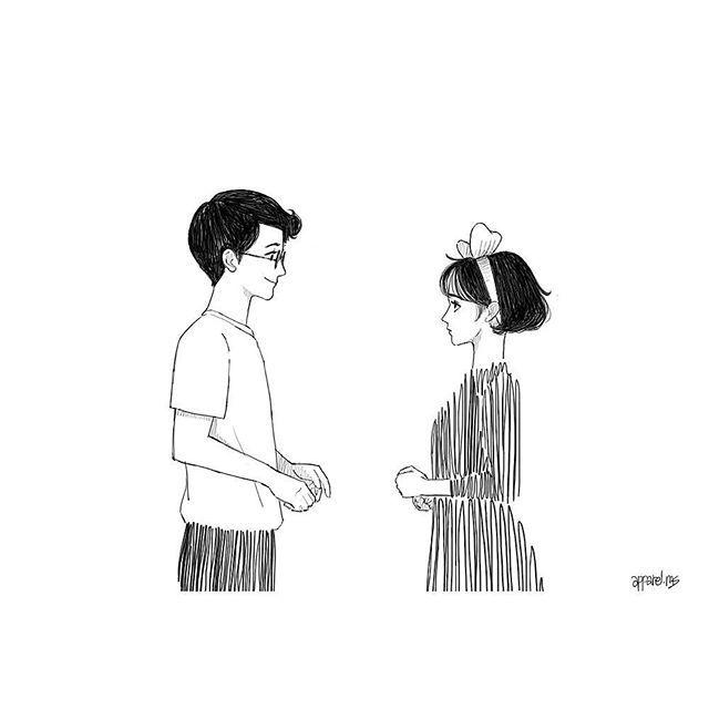 """. """"자기야, 우리 처음봤을때 자기는 나한테 그냥 이상한 사람이였는데, 생각해 보면 자기는 그때도 나를 지금처럼 쳐다봤어, 마치 우리가 이렇게 될 거란 걸 알고 있다는듯이"""" . . . . """"When we met first time. You are just weard person to me. But you saw me like an old couple's eyes like now we are and who already knew we will fall a love."""" . . . . #일러스트 #일러스트레이션 #일러스트레이터 #그림 #손그림 #드로잉 #썸 #사랑 #연애 #럽스타그램 #설레임 #소통 #맞팔 #선팔 #illustrator #illustration #drawing #love #handdrawing #kikisdeliveryservice #ghibli"""