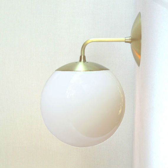 mid century modern wall mount sconce white 8 glass globe the orbiter 8 wall sconce modified for use with medium base light