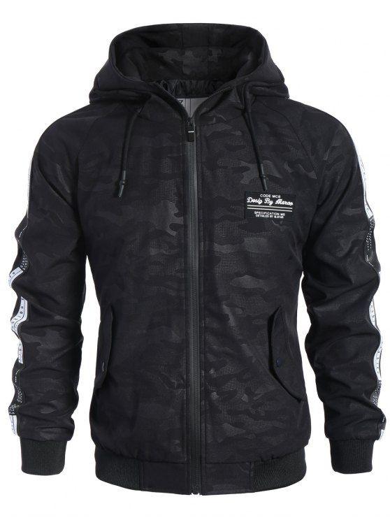Side Letter Print Camo Hooded Jacket - BLACK M