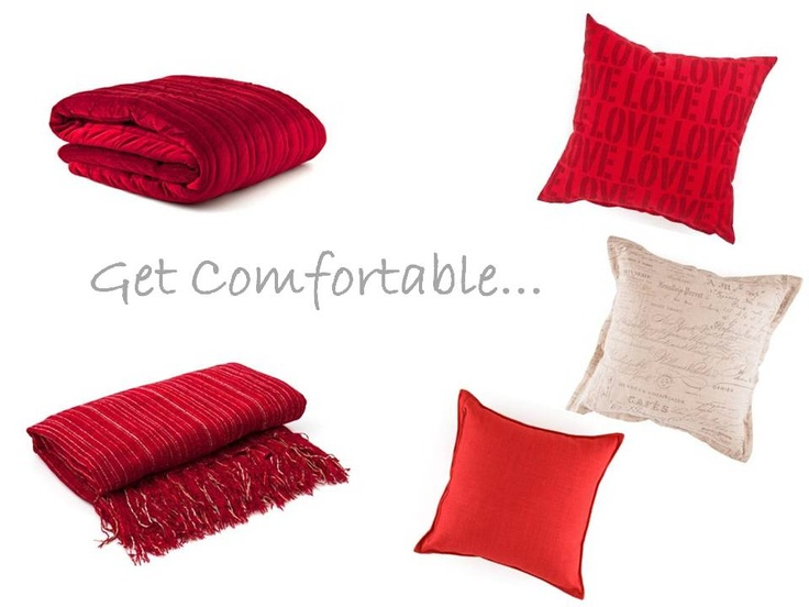 Get Comfortable... Items include: Chen Mingle Stripe, Red, M Fibre Red, Tweedle 68*68 High Risk Red, Hs Love Love 45*45, Script 60X60 Nat Oxf