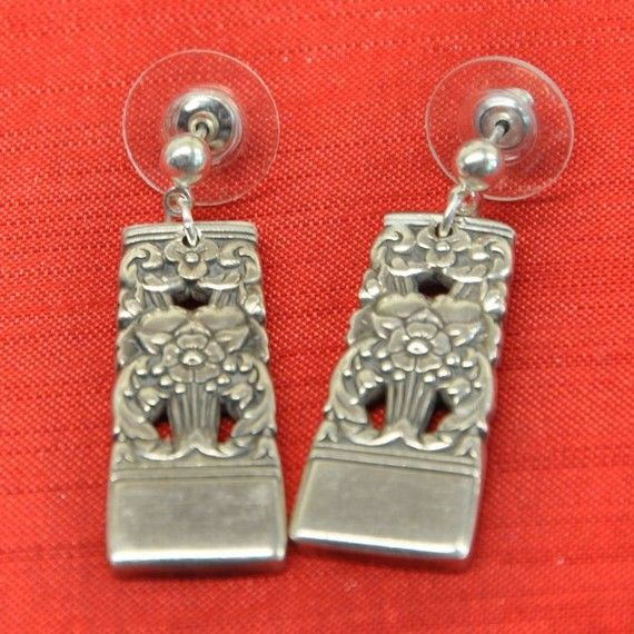 silver plate earrings made from utensils
